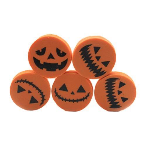 Amosfun Halloween Kürbis Radiergummi für Studenten Halloween Festival Geschenk Runde Form Radiergummi für Kinder - Zufallsmuster 24 Teile / Satz