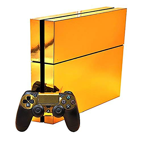 SKINOWN Golden Skin Gold Sticker Vinly Decal Cover for Sony PS4 Playstation 4 Console and Controller