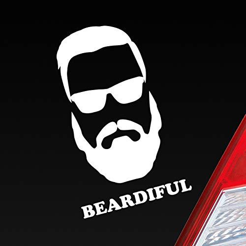 Hellweg Druckerei Auto Aufkleber Beardiful Beard Bart Schön Cool Sexy Car Sticker Folie Weiß Glanz
