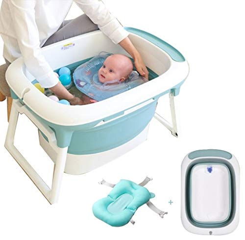 Baby Bathtub, Portable Shower Basin with Non-Slip Supports Bubbling Spa & Shower, 3-in-1 Folding Bath Tubs,Sit and Soak Baby Bath Tub, 0-6 Years Old
