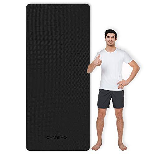 CAMBIVO Yogamatte, Gymnastikmatte extra lang(213cm x 81cm x 6mm), TPE Fitnessmatte rutschfest für Sport, Yoga, Pilates, Gymnastik, WorkoutBlack