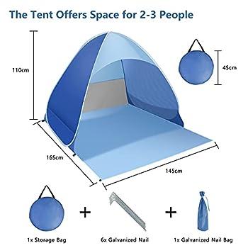 Tente de plage, tente de plage, tente de plage portable pour bébé, abri solaire automatique UPF50+ Protection UV étanche pour camping, plage, pêche, pique-nique