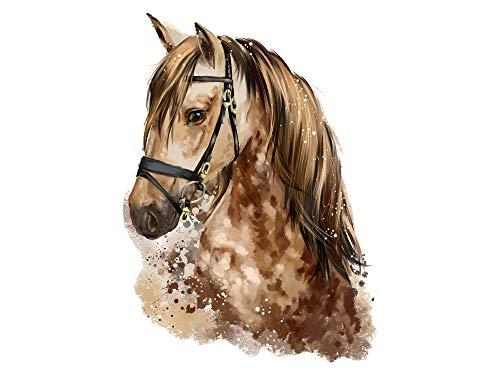 GRAZDesign muurtattoo paard aquarel schimmel hengst horst behang sticker / 320023 41x30cm bruin