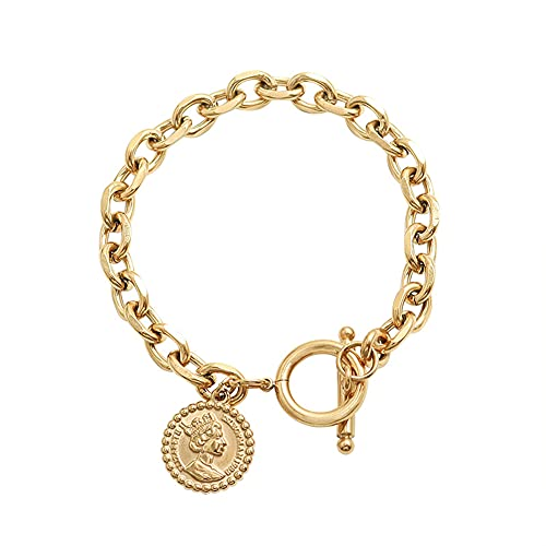 YJZW Gold Chain Cuban Link Bracelet For Men Women, Coin Pendant Bangle, Paperclip Oval Chain Bracelet 18k Gold Plated,18CM