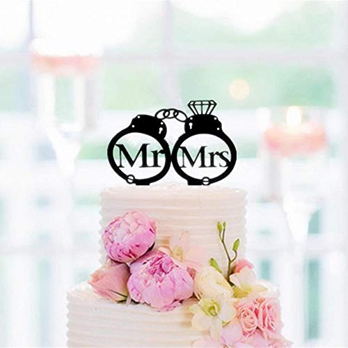 Soode Mr en Mrs binnenkant handboeien bruiloft taart topper - politie taart topper bruiloft taart decoreren accessoire