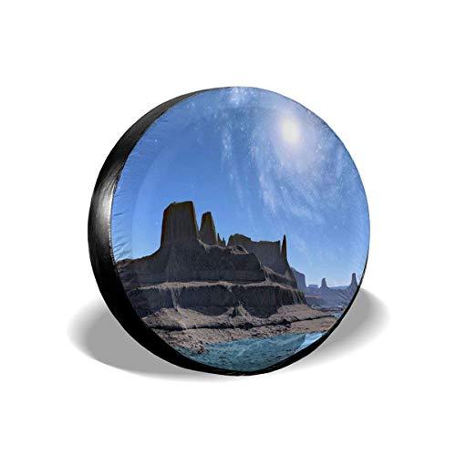 MOLLUDY Funda de Rueda de Repuesto Montañas Galaxy Lake Paisaje Starry Sky Planet Funda de Llanta de Repuesto Cubierta de llanta de refacción 14/15/16/17 Inch