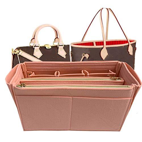 Purse Organizer, Bag in Bag Organizer For Tote & Handbag Speedy Neverfull-3MM Premium Felt (Handmade/20 Colors) (Large, lightpink)