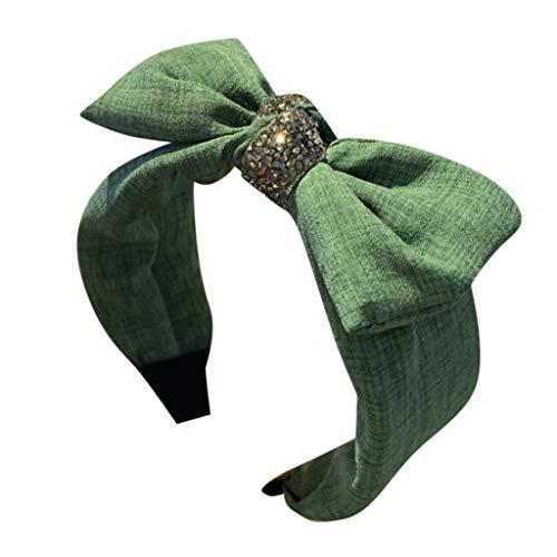kolila Günstige Stirnband Clearance!!!Damen Vintage Einfache Stretchy Wide-Krempe Bow Haarband Zubehör Haarspangen Stirnbänder(Grün)