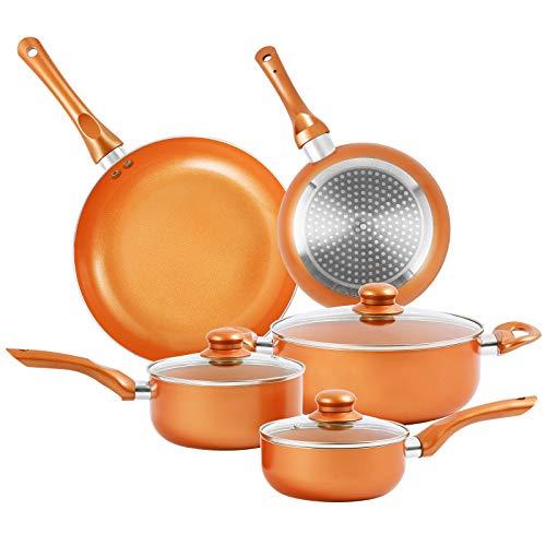 Nonstick Pots and Pans Set, 8 Pcs Ceramic Cookware Set, Soup Pot, Milk Pot, Frying Pans Set, Aluminum Pan with Lid, Induction Gas Compatible