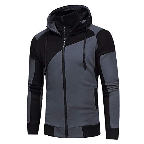 U/A - Cárdigan con capucha para hombre con bloqueo de color doble cremallera Negro Negro ( M