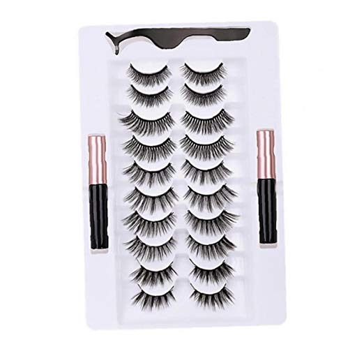 NaisiCore Magnetische Wimpern Kits, 3D-Wasserdichtes Magneten falsche Augen Lashs Set mit Eyeliner & Tweezer, Magnetic Liquid Eyeliner Kits (10 Paaren)