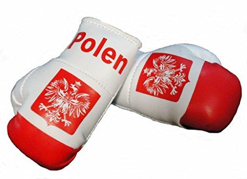 Mini Boxhandschuhe POLEN, 1 Paar (2 Stück) Miniboxhandschuhe z. B. für Auto-Innenspiegel
