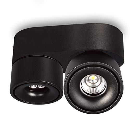 JVS Aufbaustrahler Aufbauleuchte Deckenleuchte Aufputz MONAKO MINI LED 2X 8W Warmweiß 230V IP20 rund schwarz schwenkbar Strahler Deckenlampe Aufbau-lampe Downlight aus Aluminium -eingebaute Led-Lampen