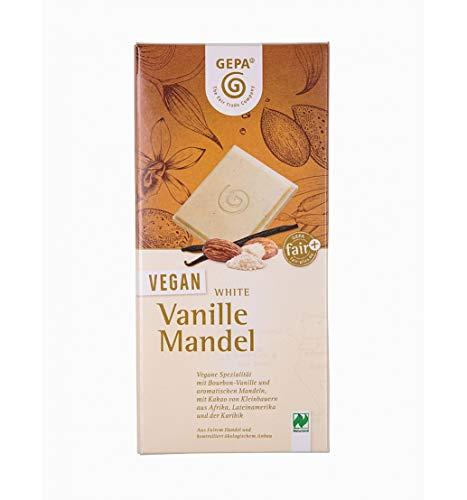 GEPA Bio Vegan White Mandel Vanille Schokolade - 1 Karton (10 x 100g)