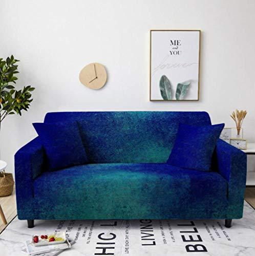 Protector de sofá con Patrón Verde Azul Estampado,Fundas de Sofá Elasticas de 3 Plazas,Poliéster Suave con Funda elástica,Antideslizante Protector Cubierta de Muebles