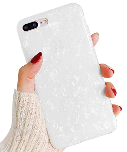 J.west iPhone 8 Plus Case/iPhone 7 Plus Case, Cute Ultra Thin [Tinfoil Series] Macaron Color Bling Lightweight Soft TPU Case Cover for iPhone 7 Plus / 8 Plus (White)