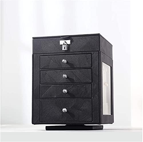 Exquisito estilo europeo PU Caja de joyería de cuero, pendientes de lujo de gran capacidad, collares, anillos, relojes, caja de almacenamiento de joyas, giratorio, 5 capas Caja de joyería (Color: Negr
