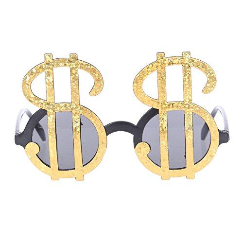 BESTOYARD lustige Sonnenbrille Spaßbrille Dollarzeichen Brillen für Erwachsene (Gold)