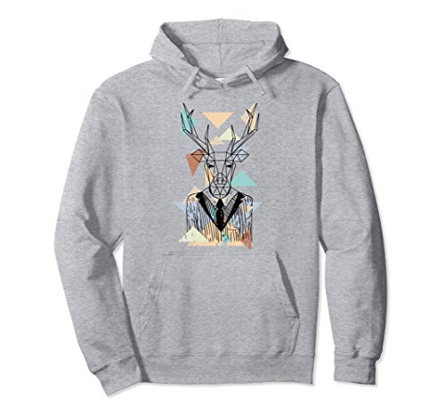 Fractal Geometric Deer Animal Wildlife Graphic Pullover Hoodie