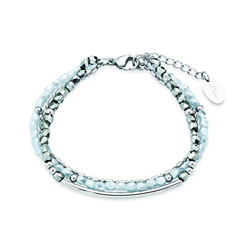 s.Oliver Mehrreihiges Gliederarmband für Damen, Edelstahl, Glas