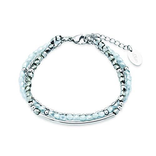 s.Oliver Mehrreihiges Gliederarmband für Damen mit Glassteinen