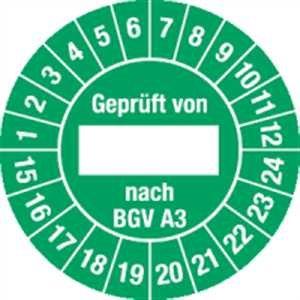 Testplaketten getest door BGV A3, 15-24 groen 30 mm Ø documentfolie met speciale lijm voor licht olieachtige en oneffen ondergronden 100 stuks/soort.