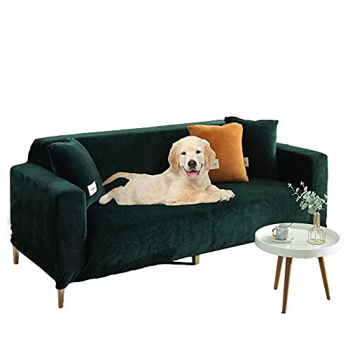 Plüsch Sofabezug Für 3 Kissen Couch,samt Sofa überwurf Elastischer Sesselbezug Möbel Sofa Loveseat Cover Protector Grün 3 Sitzer 75-91in