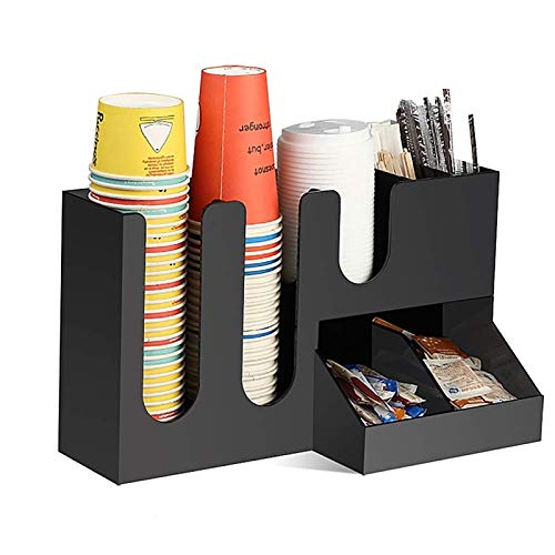 WSJTT Kcup Organizer 7 Compartment Condiment Holder Coffee and Tea Bag Organizer Caddy Tray Arylic Material for Home Table Office and Breakroom