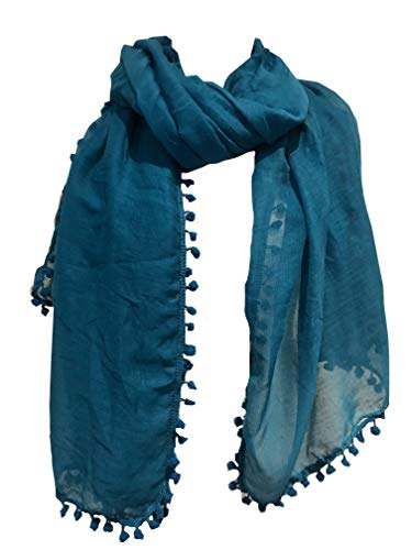Pamper Yourself Now Petrol/plain Schal/Wrap mit Bommeln- Teal plain scarf/wrap with bobbles