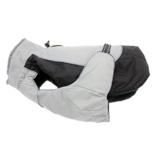 Doggie Design Alpine All Weather Dog Sport Parka Coat - Black and Gray Size L