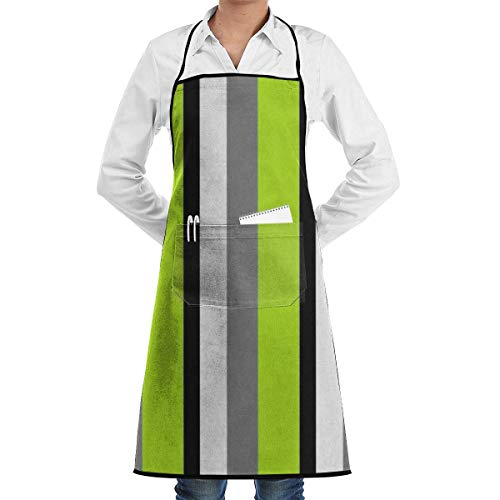 N\A Waterproof Hem Apron with Pocket 52cm 72cm, Unisex Apron Stripes Striped Gray Lime Black Colorful Bold