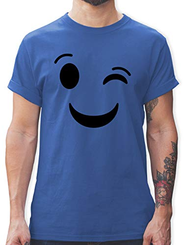 Karneval & Fasching - Zwinker Emoticon Karneval - S - Royalblau - l190_Shirt_Herren - L190 - Tshirt Herren und Männer T-Shirts