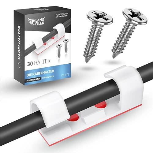 Klangfeiler® 30 Kabelclips - Kabelhalter mit Schrauben & Klebestreifen - Kabelklemmen Set - Für Kabel, Schreibtisch, USB Kabel, Ladegeräte