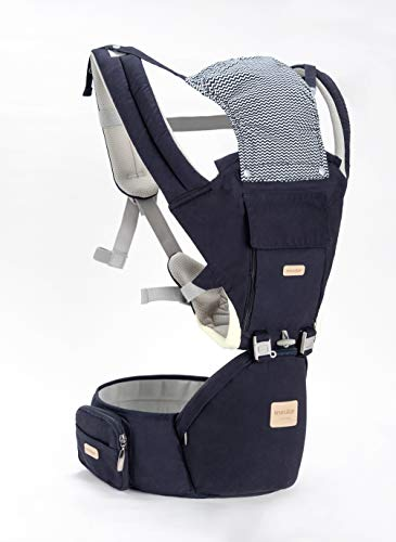 Insular Baby Carrier with Hip Seat, 3-in-1 Convertible Carrier, 360 Ergonomic Baby Carrier Backpack, Cotton Material for Four Seasons, Travelling Baby Wrap Carrier (Navy Blue)