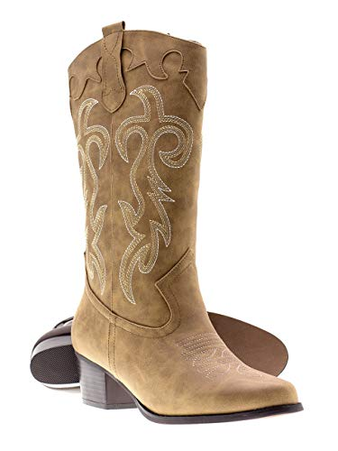 Canyon Trails Women's Classic Embroidered Pointed Toe Western Rodeo Cowboy Boots (7 (M) US Women's, Tan)