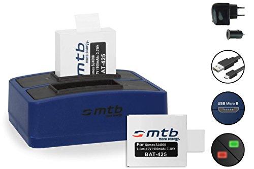 2x Batería + Cargador Doble (Corriente+Coche+USB) para Qumox SJ4000, SJ4000+, SJ5000, SJ5000+ / SJCam M10, X1000 / /DBPOWER- EX4000, EX5000. Ver Lista!