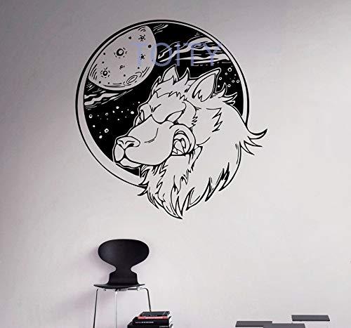 zhuzhuwen, kinderen muurstickers varken, wolf en maan wilde dieren woonhuis wilde natuur, kleuterschool kamerdecoratie muurschildering vinyl