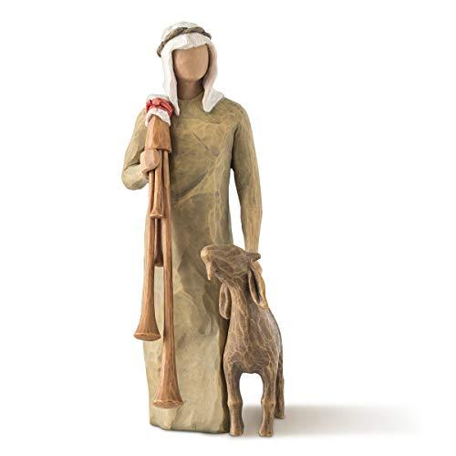 Willow Tree Zampognaro - Hirte mit Sackpfeife und Ziege als Ergänzung zur Willow Tree Nativity Krippe