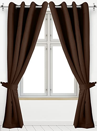 Utopia Bedding 2 Panels Grommet Blackout Curtains with 2 Tie Backs, Thermal Insulated for Bedroom, W52 x L84 Inches, Chocolate