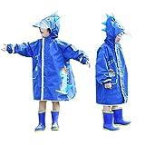 JinBei Chubasquero Poncho Impermeable para Niños con Sombrero Rayas Reflectantes Transparentes para Niñas y Niños Chubasquero con Bolsillo Impermeable De Dinosaurio, Azul 7-10 años