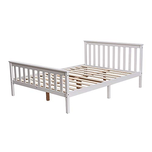 Double Wooden Bed White Solid Pine Frame Strong for Adults Kids Teenagers 141x196cm Sleeping Bed