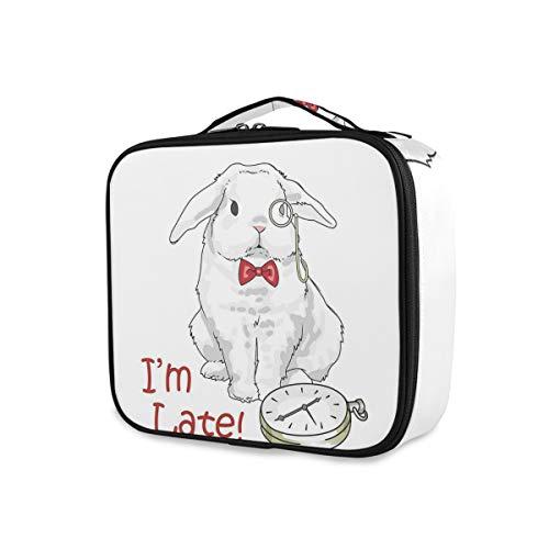 SUGARHE Lustiges Kaninchen mit Uhren Disney Cartoon Alice,Kosmetik Reise Kulturbeutel Täschchen...