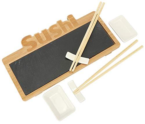 com-four® 7-teiliges Sushi Servierset - stylische Servierplatte aus Schiefer und Bambus-Holz - mit Schälchen für Soyasauce und Essstäbchen (7-teilig - V2)