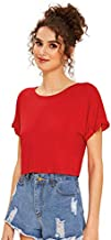 SweatyRocks Women's Casual Round Neck Short Sleeve Soild Basic Crop Top T-Shirt (Medium, Red)