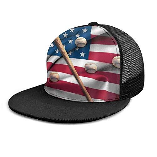 NA Baseball Cap Baseballschläger auf American National Flag Unisex Hut mit flacher Krempe Baseball Caps