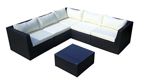 baidani Surprise 10c00022.00001 Salon de Jardin de Designer Canapé Table Basse avec Plateau en Verre Polyrotin Noir