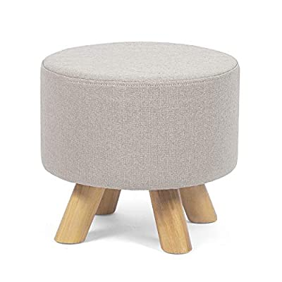 Edeco Modern Round Ottoman Foot Rest Stool/Seat Pouf Ottoman with Linen Fabric and Non-Skid Wooden Legs (Beige)