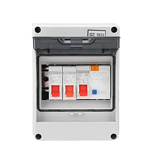 AAGOOD Interruptor de Circuito Unidad de Consumo PanelMini Protección de Fuga Junta Fusible 40A 30mA RCD 2 MCB + 6A 16A 2 vías