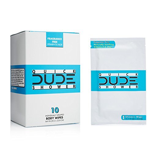 DUDE Shower Body Wipes 10 Count Wet Wipes Individually Wrapped for Travel Unscented Naturally Soothing Aloe and Hypoallergenic, Portable Travel-Sized Individual Cleansing Cloths for Men