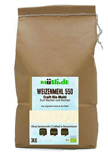 müsli.de BIO Weizenmehl Type 550 - 3kg, zum Backen (z.B. Brot, Brötchen, Gebäck und Kuchen) und Kochen geeignet.